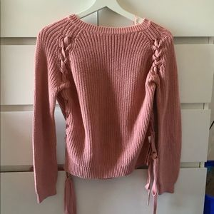 Sweaters - Pink Knit Sweater with side Lace-up detail